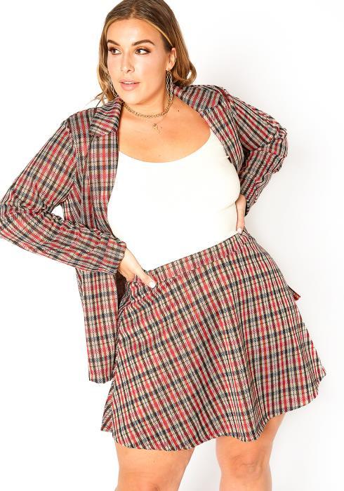 Asoph Plus Size Red Plaid Circle Flare Mini Skirt