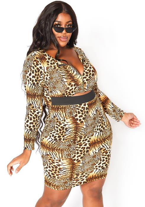 Asoph Plus Size Wild Love Long Sleeve Bodycon Mini Dress
