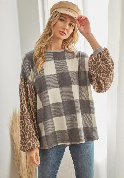 CY Fashion Leopard Plaid Mix Print Sweater