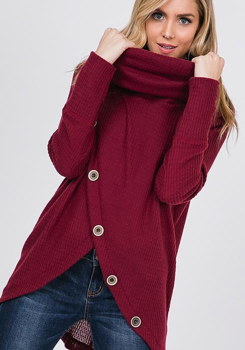 CY Fashion Funnel Neck Waffle Knit Top