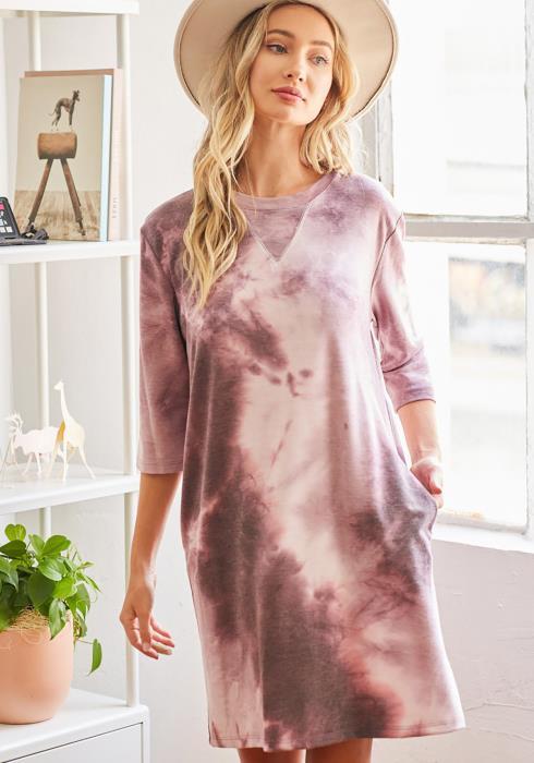 CY Fashion Tie Dye Triangle Stitch Midi Dress