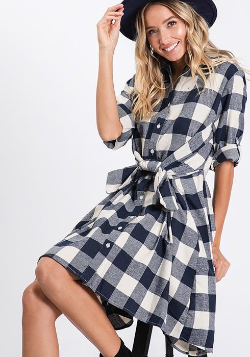 CY Fashion Plaid Fit & Flare Mini Dress