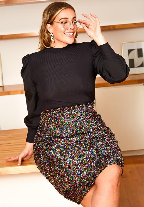 Asoph Plus Size Multi Sequin Pencil Midi Skirt