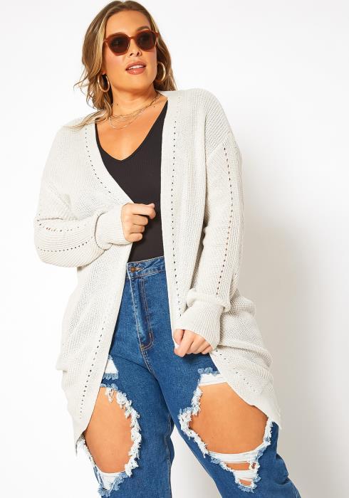 Asoph Plus Size Waffle Knit Open Front Long Cardigan