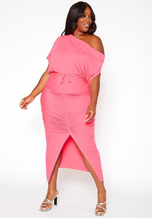 Asoph Plus Size Centered Drawstring Hem Maxi Skirt