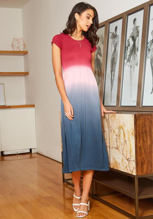 Eco Zone Gradient Color Short Sleeve Midi Dress