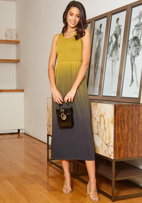 Eco Zone Pattern Smocked Gradient Color Midi Dress
