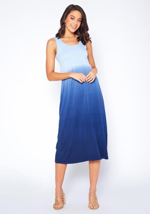 Eco Zone Gradient Color Sleeveless Midi Dress