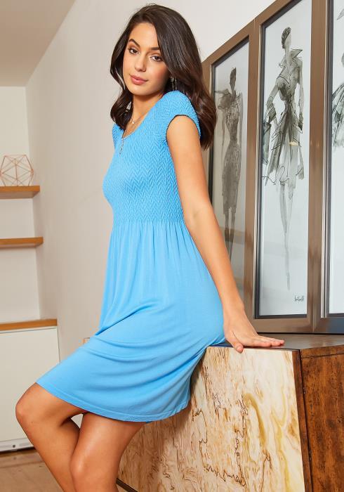 Eco Zone Smocked Fit & Flare Short Sleeve Mini Dress
