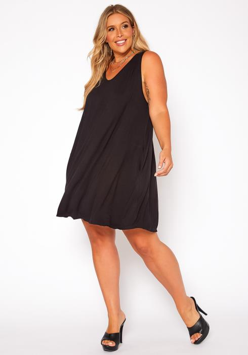 Asoph Plus Size Crochet Design Flare Mini Dress