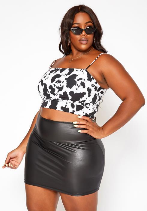 Asoph Plus Size High Waist Faux Leather Mini Skirt