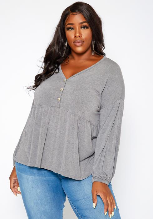 Asoph Plus Size Relaxed Fit Peplum Top