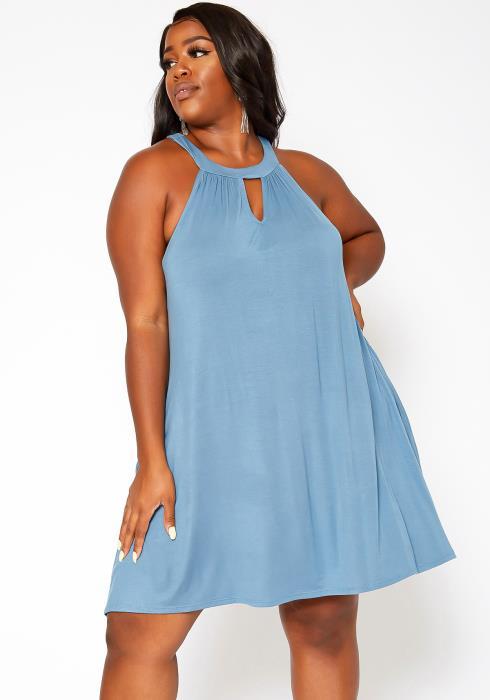 Asoph Plus Size Keyhole Front Flare Mini Dress