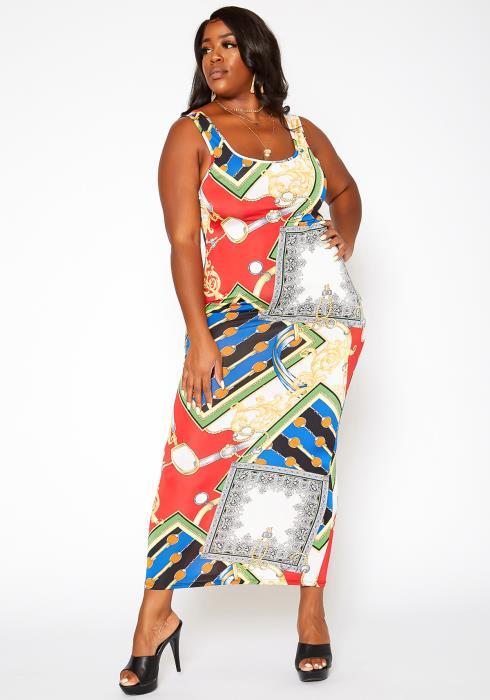 Asoph Plus Size Brocade Print Bodycon Maxi Dress
