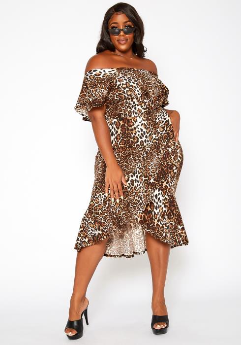 Asoph Plus Size Leopard Print Off Shoulder Midi Dress