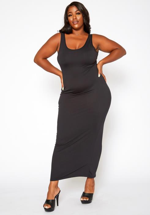 Asoph Plus Size Basic Bodycon Tank Maxi Dress