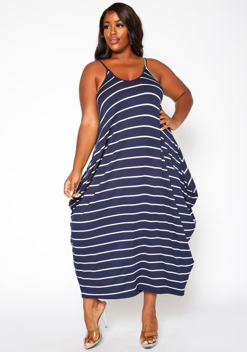 Asoph Plus Size Striped Harem Maxi Dress