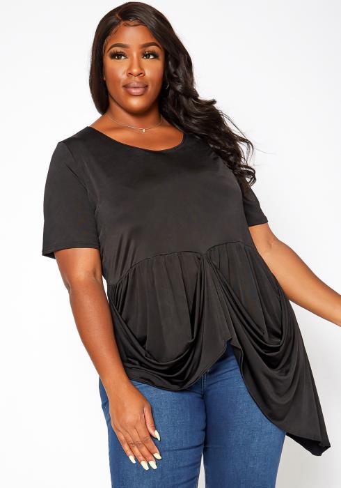 Asoph Plus Size Drape Front Blouse