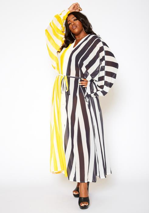 Asoph Plus Size Sheer Striped Long Sleeve Maxi Dress