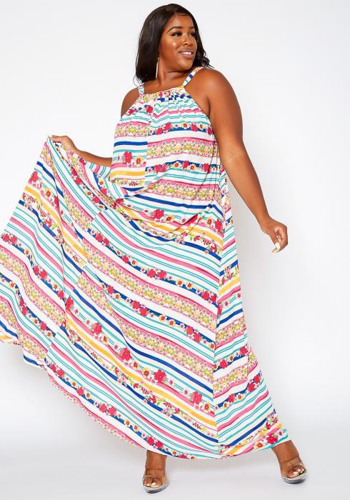 Asoph Plus Size Floral Striped Maxi Flare Dress
