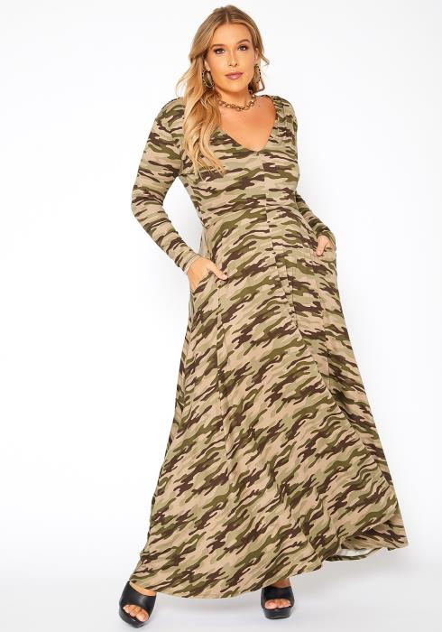 Asoph Plus Size Camo Print Fit & Flare Maxi Dress