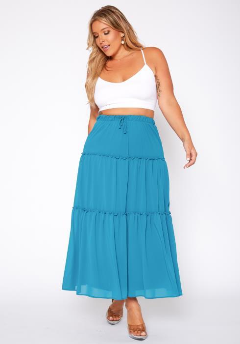 Asoph Plus Size Tiered High Waist Maxi Skirt