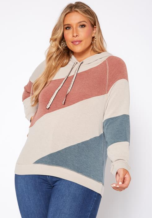 Asoph Plus Size Soft Hooded Color Splice Sweater