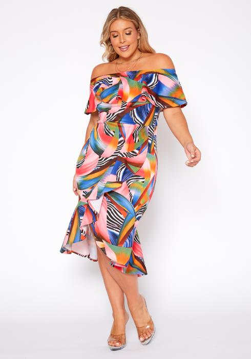 Asoph Plus Size Abstract Print Off Shoulder Midi Dress
