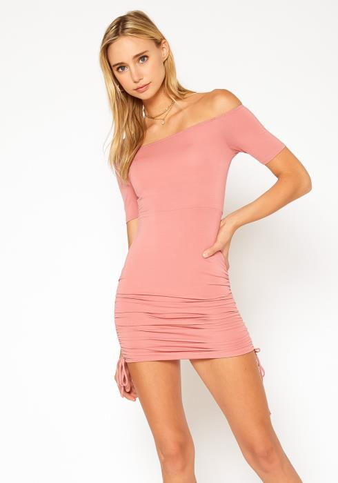 Bellatrix Basic Off Shoulder Bodycon Mini Dress