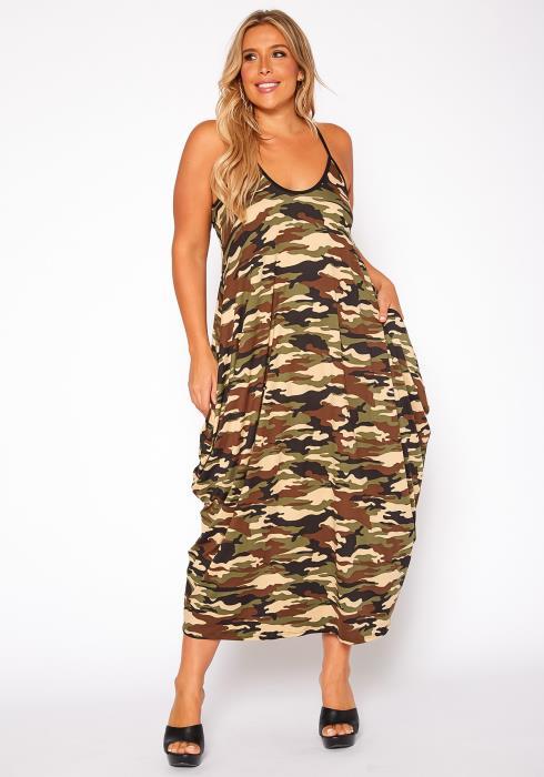 Asoph Plus Size Camo Print Harem Maxi Dress