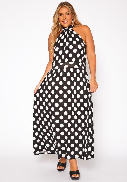 Asoph Plus Size Polka Dot Print Flare Maxi Dress