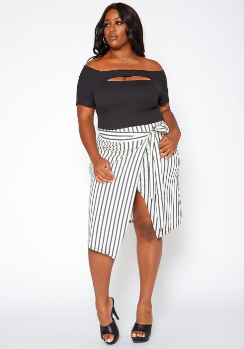 Asoph Plus Size Striped Contrast Wrap Midi Dress