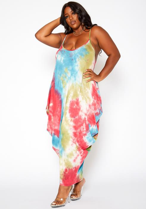 Asoph Plus Size Multi Tie Dye Harem Maxi Dress