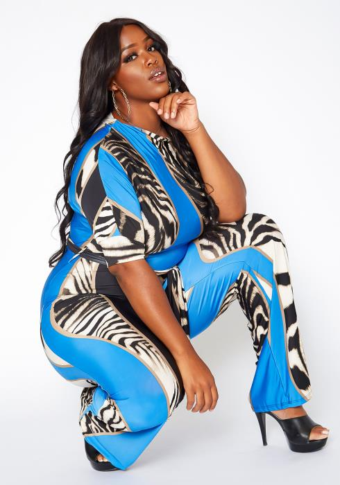 Asoph Plus Size Zebra Print Flare Leg Jumpsuit