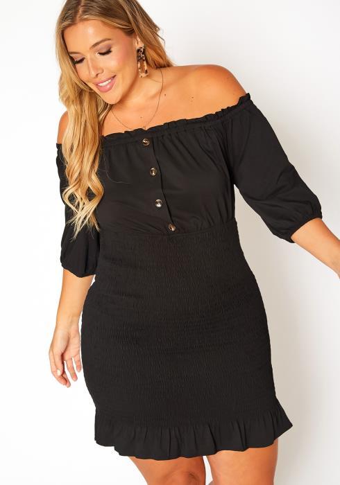 Asoph Plus Size Smocked Off Shoulder Mini Dress