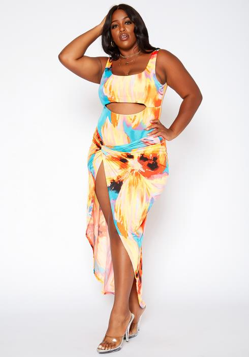 Asoph Plus Size Neon Watercolor Print Swimsuit Set
