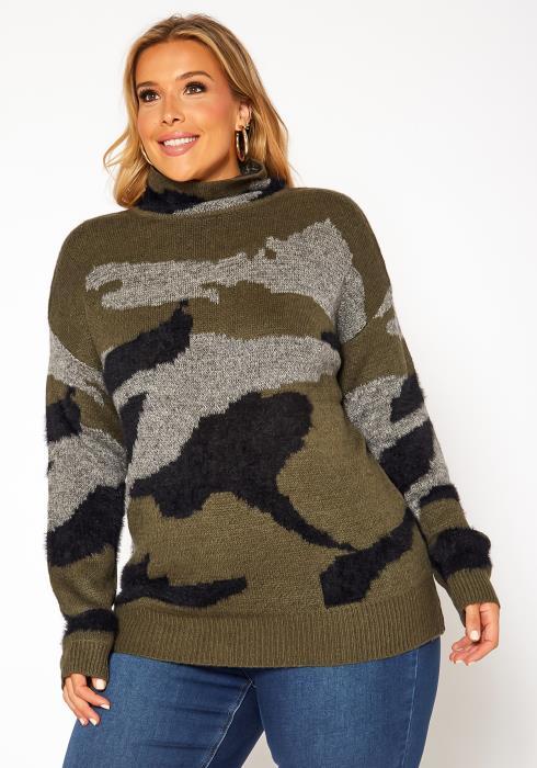 Asoph Plus Size Camo Print Funnel Neck Sweater