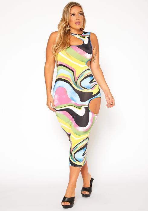Asoph Plus Size Abstract Print Bodycon Maxi Dress