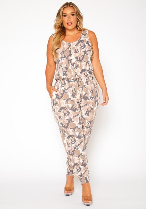 Asoph Plus Size Camo Print Relaxed Fit Jumpsuit