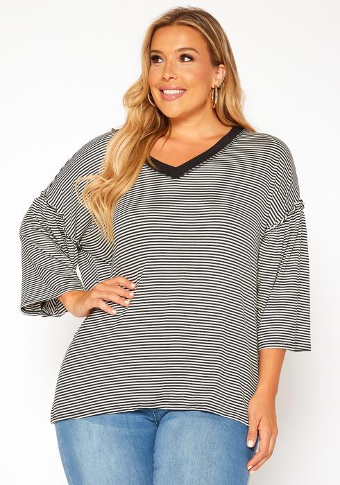 Asoph Plus Size Pin Striped V Neck Shirt