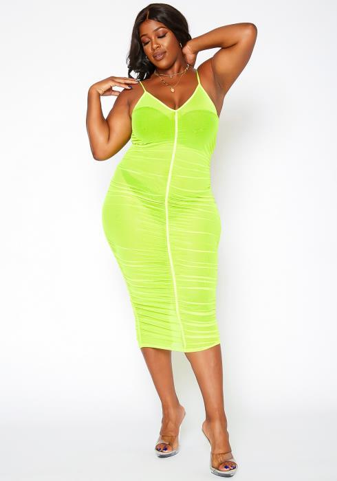Asoph Plus Size Fluorescent Mesh Cover Up Dress