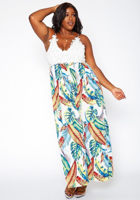 Asoph Plus Size Crochet Hem Leaf Print Maxi Dress