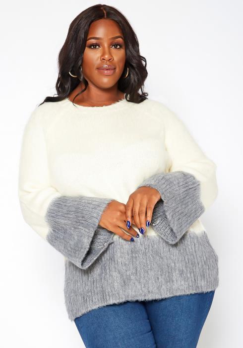 Asoph Plus Size Color Splice Fuzzy Knit Sweater