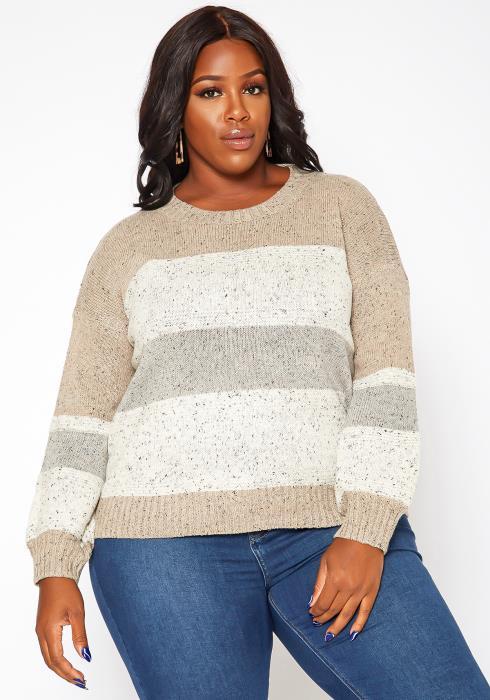Asoph Plus Size Color Splice Cable Knit Sweater