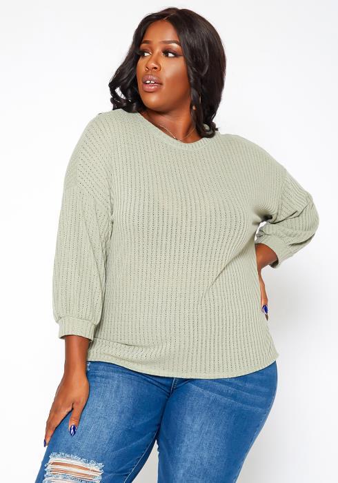 Asoph Plus Size Waffle Knit Open Back Sweater