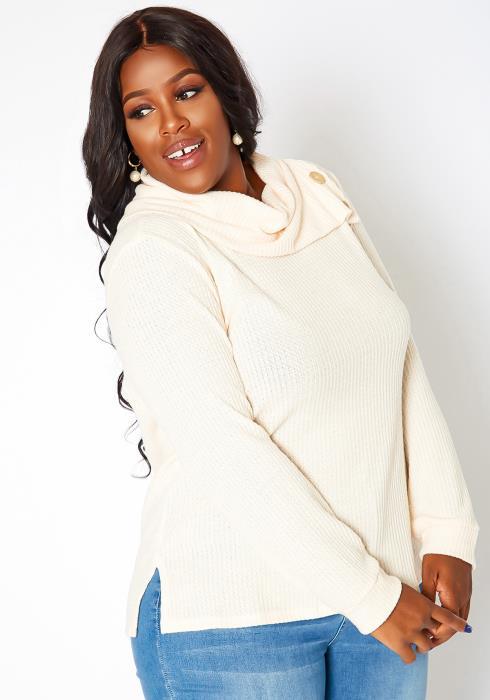 Asoph Plus Size Asymmetric Cowl Neck Sweater