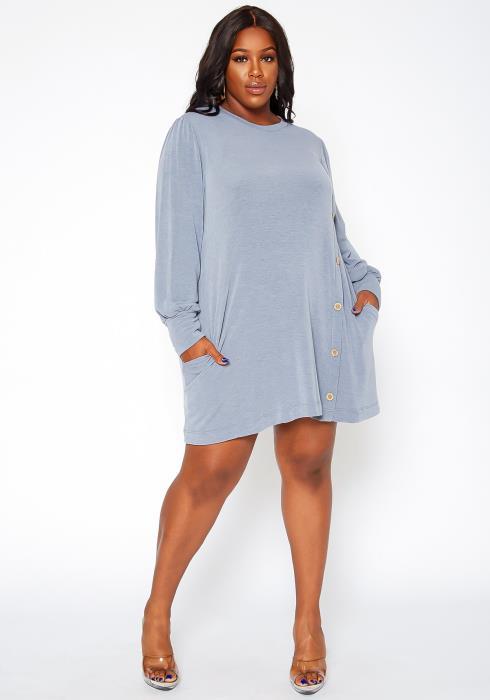 Asoph Plus Size Button Hem Flare Mini Dress