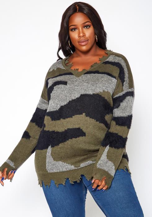 Asoph Plus Size Camo Print Distresses Sweater
