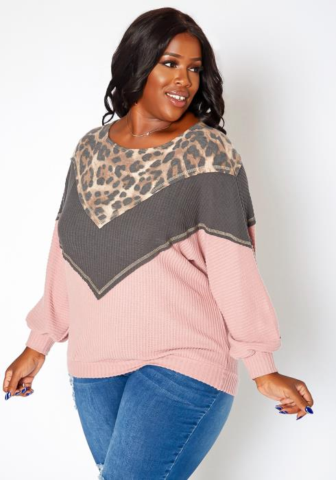 Asoph Plus Size Color Block Waffle Knit Sweater