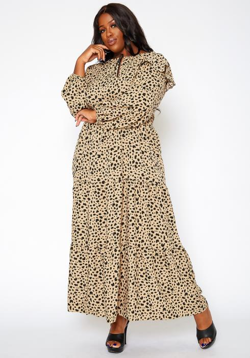 Asoph Plus Size Spotted Print Flare Maxi Dress